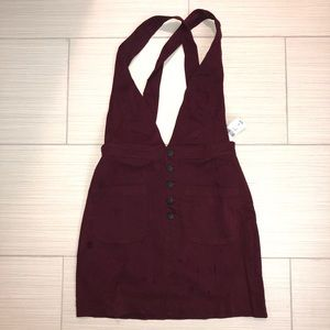 Forever 21 Red Velvet Denim Overalls Dress Large